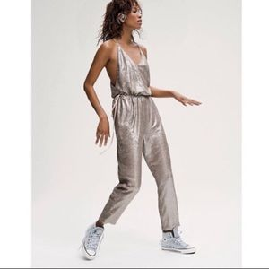 Free People Champagne sequin jumpsuit